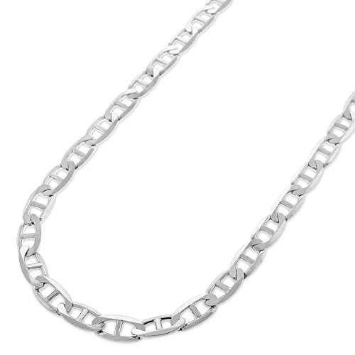 """Sterling Silver Italian 4.5mm Mariner Anchor Link ITProLux Solid 925 Flat Necklace Chain 16"""" - 30"""" (18)"""