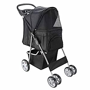 Paws & Pals Pet Stroller Cat/Dog Easy Walk Folding Travel Carrier Carriage, Onyx Black