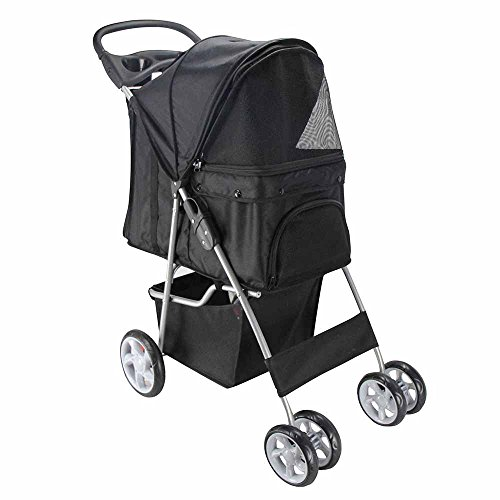 Paws & Pals Pet Stroller Cat/Dog Easy Walk Folding Travel Carrier Carriage, Onyx Black by Paws & Pals (Image #2)