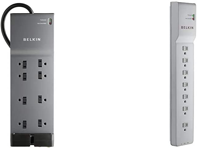 Belkin BE108230-06 8-Outlet Power Strip Surge Protector w/Flat Plug, 6ft Cord (3,550 Joules),Black & BE107200-06 7-Outlet Power Strip Surge Protector w/6ft Cord (2,320 Joules), White,6'