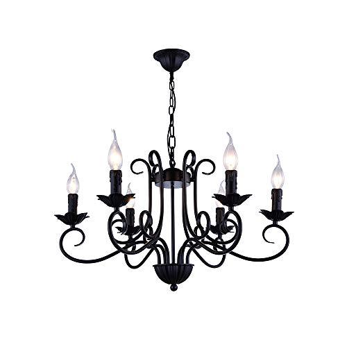 Windsor Home Deco WH-63407 Retro Industrial Metal Pendant Chandeliers, 6-Light Pendant Lights for Dining Room Lighting, A Black Hanging Pendant Lamp