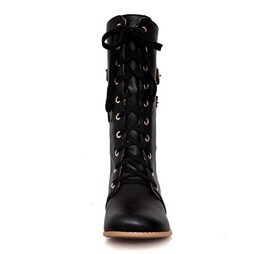 Heels Buckle Ladies Black Material Soft Bandage AdeeSu Chunky Boots wIOpEqnC4