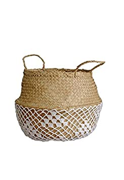 Cocoboo Natural Seagrass Belly Basket, Storage, Laundry basket, Handmade, Lightweight, Foldable (14 x 13 inches) Large