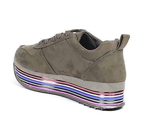 Passeggio Scarpe Alta Sportive Righe Khaki Store Sneakers Donna Zeppa Casual Platform A Colorate Blanco pSTFqxw