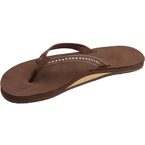 Rainbow Sandals Women's Single Layer Premier Leather w/Swarovski Crystal Narrow Strap, Expresso, Ladies 11/10.5-11.5 B(M) US ()