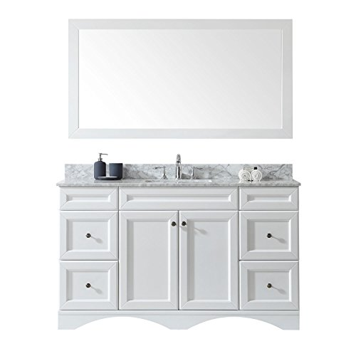 Virtu USA ES-25060-WMSQ-WH-002 Talisa Single Bathroom Vanity with Marble Top/Square Sink with Polished Chrome Faucet/Mirror, 60