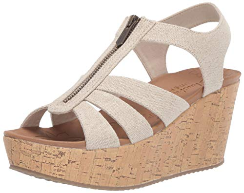 - Skechers Women's BRIT-Zipper Wedge Quarter Strap Sandal, Natural 7 M US