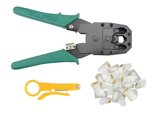 BXQINLENX Professional Multi-function Wire Crimper Telephone Tool Crimps Cable Wire Stripper Wire Crimper And Cuter For 8P8C RJ-45 6P6C RJ-11 RJ-22 4P4C (Crimper + 100PCS RJ45 8P8C (6p6c Crimp)