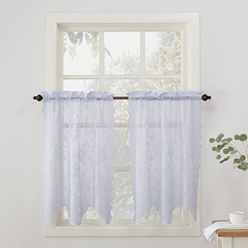 No. 918 Alison Floral Lace Sheer Curtain Tier Pair, 58