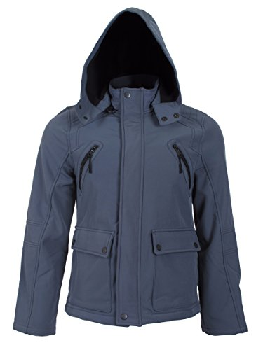 Urban Republic Mens Classic Zip Off Hood Microfleece Soft Shell Six Pocket Winter Jacket, Medium, Grey