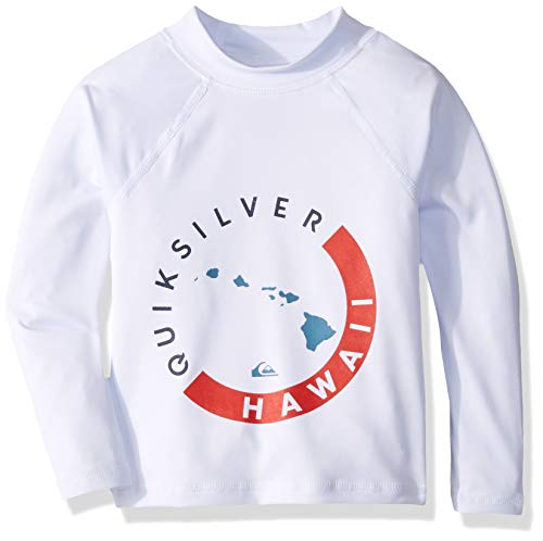 Quiksilver Big KONA Long Sleeve BOY Rashguard UPF 50+ Sun Protection, White, 6