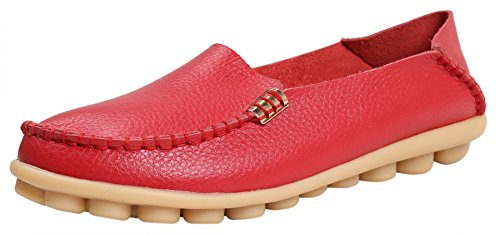 Red Leather Flats Shoes - 5