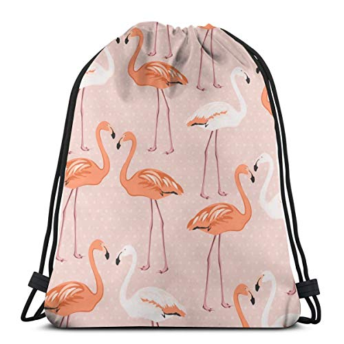 Flamingo Birds Couple Pattern On Pink Polka Dot Personalized Sports Pumping Rope Bag Is Suitable For Men And Women Outdoor Travel -