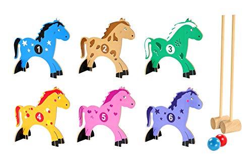Indoor Croquet Set - Pony Croquet Kids Indoor/Outdoor 10 Piece All Wood Set