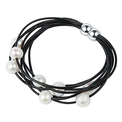 Bonnie Handmade White&Black Magnet Buckle Fresh Water Pearl and Leather Cord Bracelet (White) Strand Pearl Mothers Bracelet
