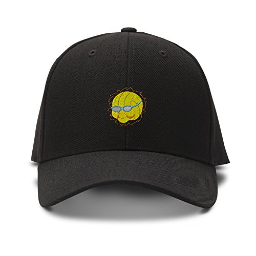 Sunny Volleyball Embroidered Unisex Adult Hook & Loop Acrylic Adjustable Structured Baseball Hat Cap - Black, One Size ()