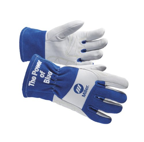 Miller Electric Welding Gloves, M, Wing, 10In, Blue/White, PR