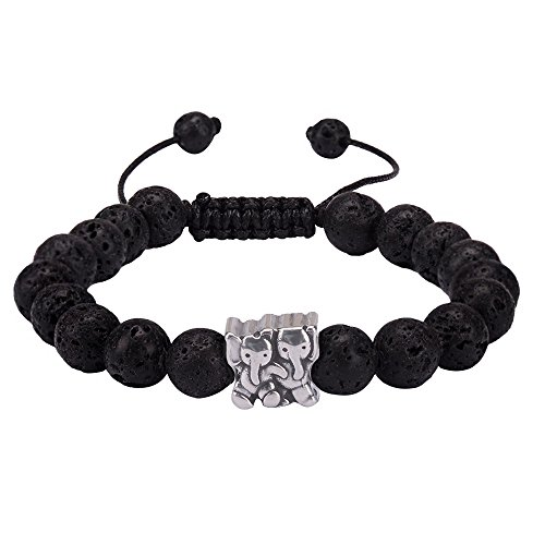 Jeka Lava Rock 8mm Stone Elephant Bracelet for Women Girls Lovely Charm Beaded Yoga Essential Oil Diffuser Adjustable Natural Mala Jewelry