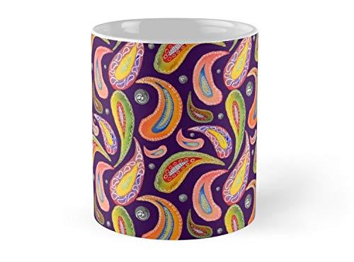 Hued Mia Paisley 2 on purple Mug - 11oz Mug - Features wraparound prints - Dishwasher safe - Made from Ceramic - Best gift for family -