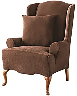 Sure Fit Stretch Pique   Reclining Wing Chair Slipcover   Chocolate  (SF37309)