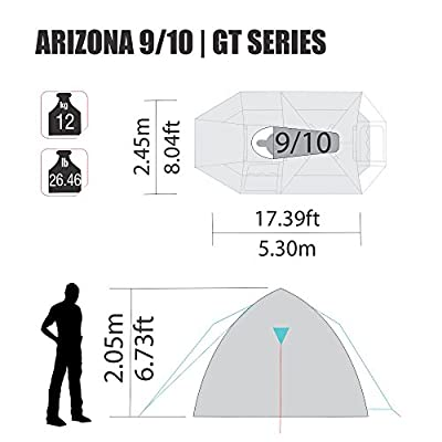 Arizona GT 9 to 10 Person 17.4 by 8 Foot Sport Camping Tent 100% Waterproof 2500mm Tent