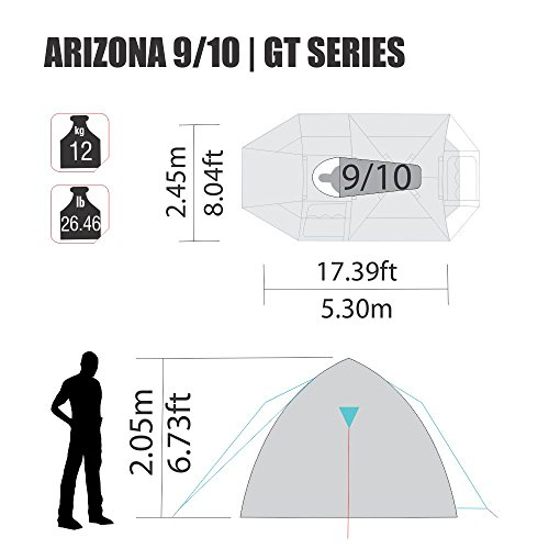 amazoncom arizona gt 9 to 10 person 174 by 8 foot sport camping tent 100 waterproof 2500mm tent sports outdoors
