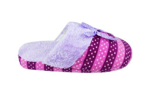 Womens Fluffy Bow Tie Shearing Striped Slippers (W3045) Purple pkXaJU