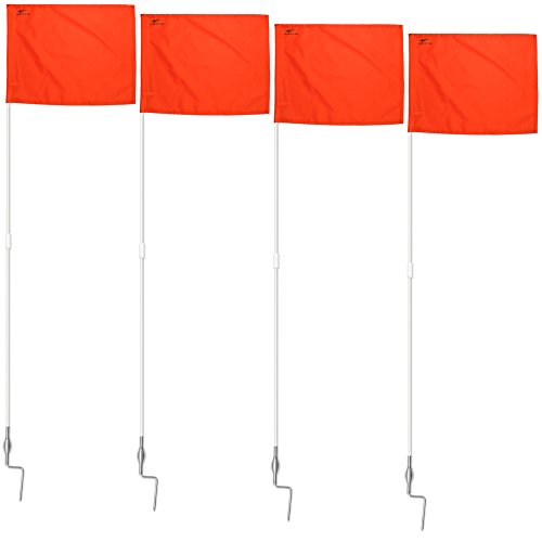 AGORA Fiberglass Portable Soccer Corner Flags with Spring Base - Set of 4