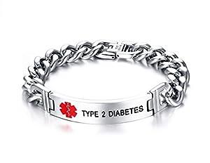 PJ Jewelry Type 2 Diabetes-12mm Stainless Steel Medical Alert ID Chain Bracelets for Men,8.2