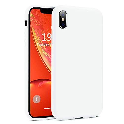 iPhone Xs Max Case, Liquid Silicone Gel Rubber Matte Case[Comfortable Grip] Drop Shockproof Full Body Protection Case with Soft Cushion[Screen & Camera Protection] for Apple iPhone Xs Max - White