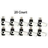20 128 MB Flash Drive - Bulk Pack - USB 2.0 Swivel Design Black