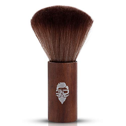 - Large Barber Brush Hair Cutting Neck Duster Brush Professional Barber Natural Fibaer with Wooden Handle