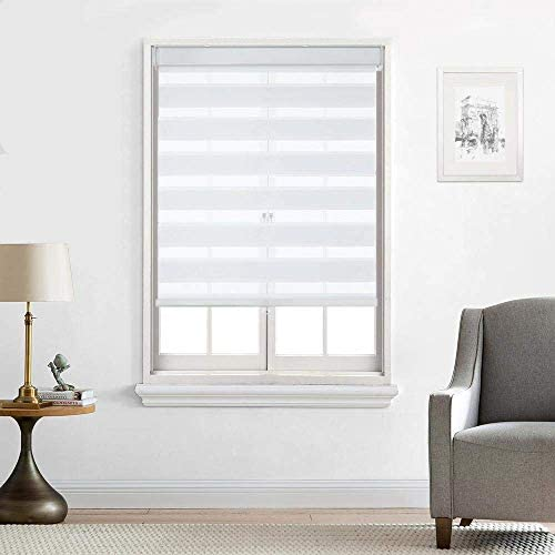 Everyday Celebration Customized Cordless Zebra Shades, Free-Stop Light Filtering Zebra Roller Blinds, White 72 W X 72 H