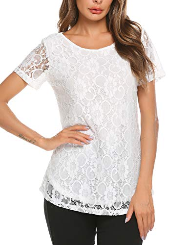 SoTeer Women's Short Sleeve Floral Lace Blouse Round Neck Casual A-Line Tunic Tops(White S)