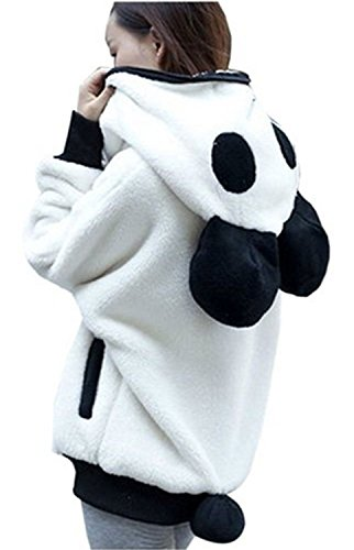 Panda Hoodie (Women's Winter Cute Panda Ear Tail Fleece Zip up Hoodie Outerwear S Black/White)