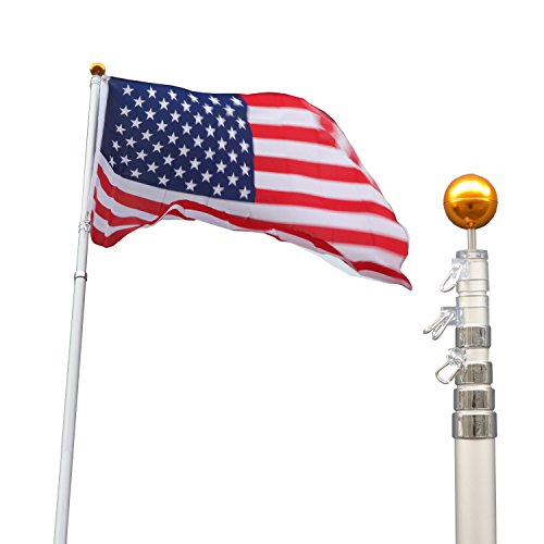 F2C 20Ft Sliver Telescope Telescoping Flagpole Kit Outdoor Gold Ball US American Flag Pole (20ft Sliver Telescopic Flagpole) 20 Foot Telescoping Flagpole
