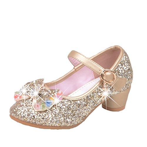 Cool&D Mädchen Sandalen Frozen Schuhe Prinzessin Sandalen Absatz-Schuhe Oxford Sohlen Sandalette mit Glitzerpailletten Gold