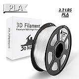 Clear PLA 3D Printer Filament Transparent PLA 1.75mm 1KG Spool(2.2LBS),Clear Filament, Dimensional Accuracy +/- 0.02 mm,3D Printing Filament PLA Transparent(Clear PLA)- NO Clogging
