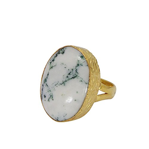18k Gold Vermeil Oval Shape White Agate Gemstone Large Statement Ring (18k Large Oval Gemstone)