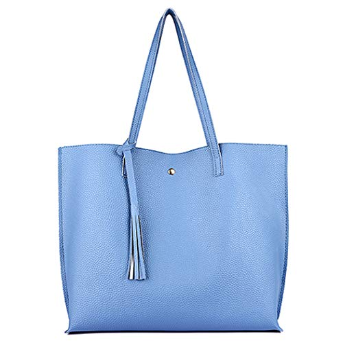 Women Tote Bags Top Handle Satchel Handbags PU Leather Tassel Fashion Ladies Shoulder Purse (blue)