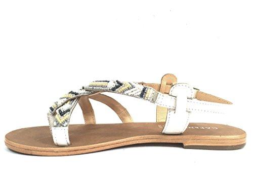 GC037 MULTI BIANCO Scarpa donna sandalo infradito Cafènoir vero cuoio