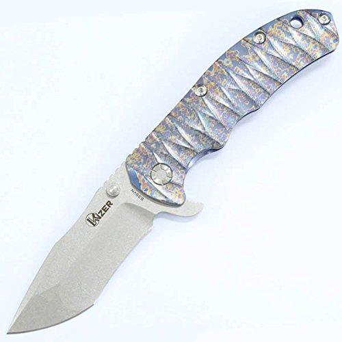 KizerカトラリーチタンFramelock Tantoナイフ、ストーンWash   B00PZ4D7NI
