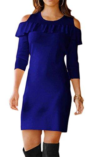 Volants Occasionnels Des Femmes Domple Manches 3/4 Découpées Bleu Mini Robe Épaule
