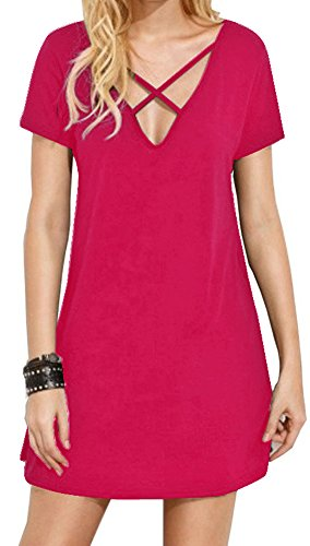 Spadehill Women Summer V Neck Cotton Sexy Short Sleeve Criss Cross Tunic Dress Rose Red XL