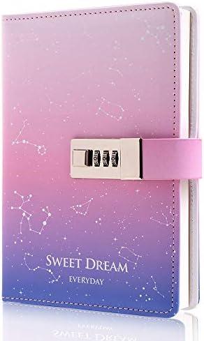 Diario personal de cuero con cerradura de combinación Diario de bloqueo secreto para mujeres y ni ntilde;as color rosa 74 x 51 pulgadas