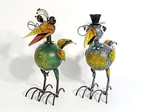 Wind Luz pájaro jardín Figura Farol Multicolor de metal, verde