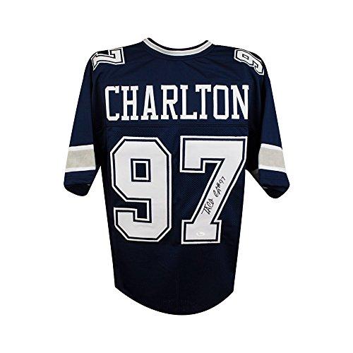 Taco Charlton Autographed Dallas Cowboys Custom Navy Football Jersey - JSA COA