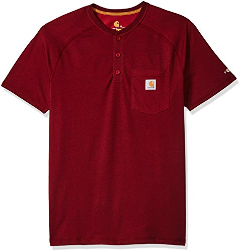 (Carhartt Men's Big and Tall Force Delmont Short Sleeve Henley T-Shirt (Regular and Big & Tall Sizes), red/Brown Heather,)