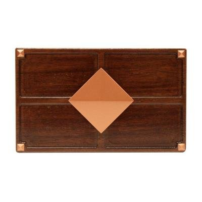 Hampton Medallion (Wireless or Wired Door Bell, Medium Red Oak Wood with Diamond Medallion)