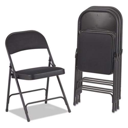 - Alera FC97B Steel Folding Chair with Two-Brace Support Fabric Back/Seat Graphite 4/Carton